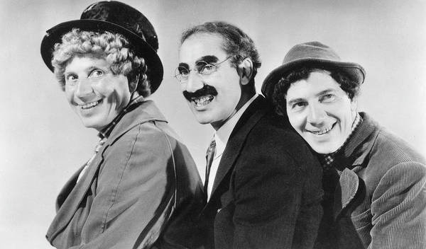 Wall Art - Photograph - Harpo, Groucho & Chico Marx by Mary Evans Picture Library