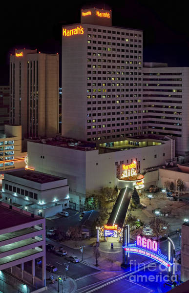 Harrahs Photograph - Harrah's And The Reno Sign At Night by Leah McDaniel