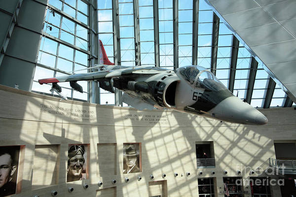 Museum Wall Art - Photograph - Harrier Jump Jet At The Marine Corps Museum by William Kuta