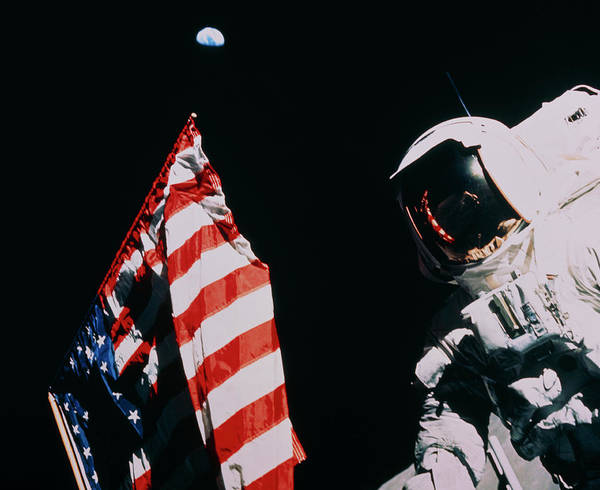 Harrison Photograph - Harrison Schmitt Next To Us Flag On Moon by Nasa/science Photo Library