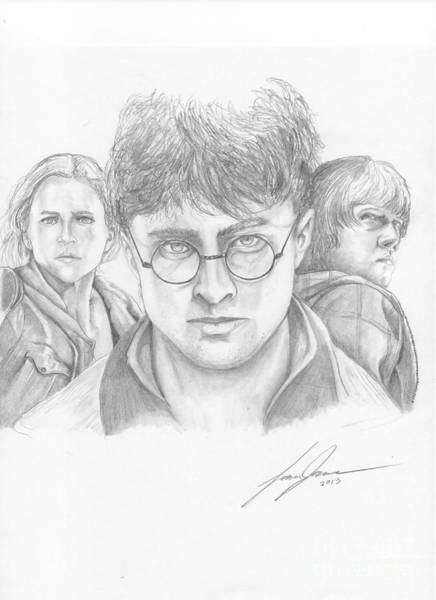 Sorcery Drawing - Harry And Friends by Lance James