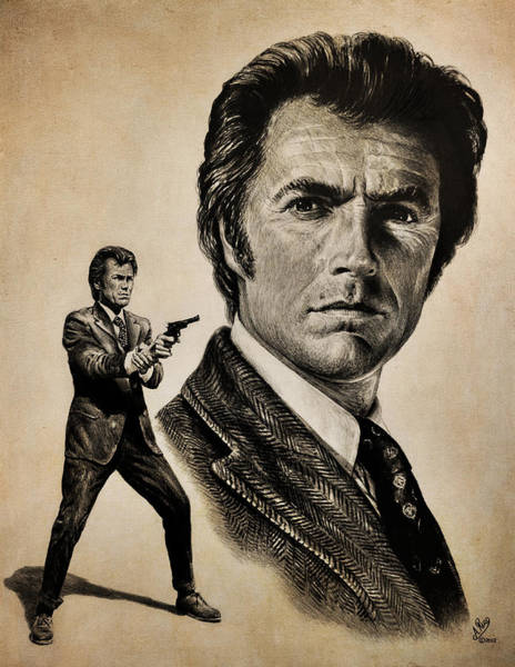 Clint Eastwood Drawing - Harry Callahan  Tan Version by Andrew Read