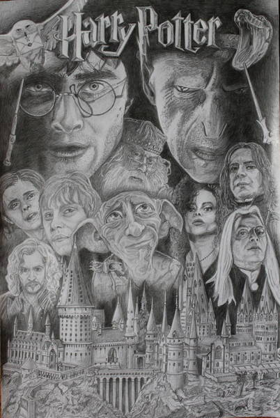 Ron Weasley Wall Art - Drawing - Harry Potter Montage by Mark Harris