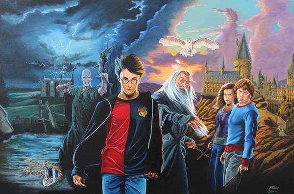 Hogwarts Wall Art - Painting - Harry Potter's World by Robert Steen