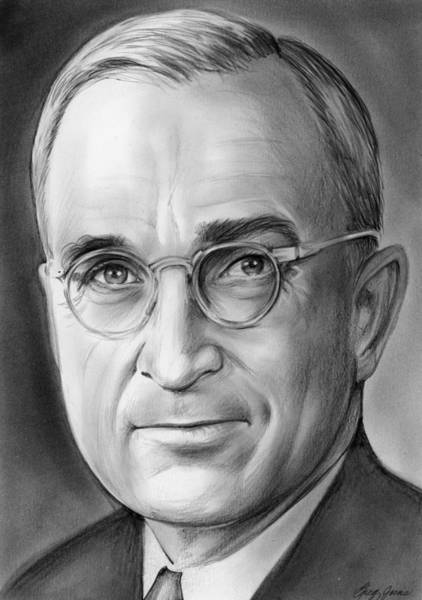 United States Presidents Drawing - Harry S. Truman by Greg Joens