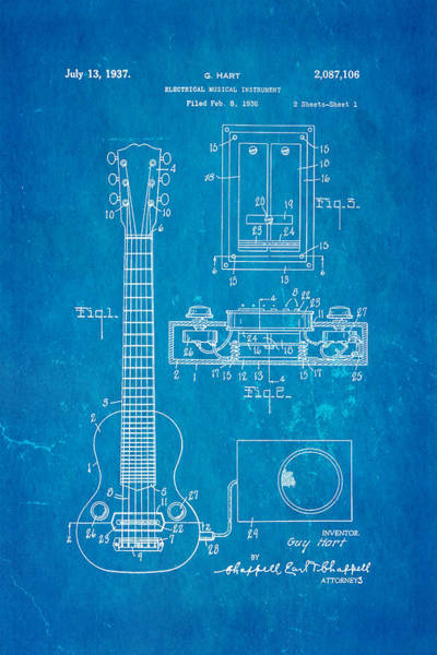 Pickup Man Photograph - Hart Gibson Electric Guitar Pickup Patent Art 1937 Blueprint by Ian Monk