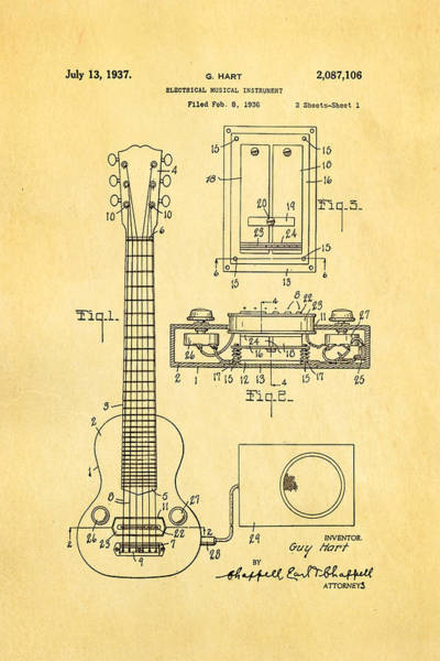 Pickup Man Photograph - Hart Gibson Electric Guitar Pickup Patent Art 1937 by Ian Monk