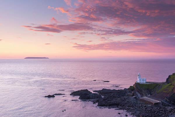 Headlands Photograph - Hartland Point Lighthouse And Lundy by Adam Burton / Robertharding