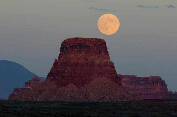 Astronomical Twilight Photograph - Harvest Moon Rising Over Tower Butte by Michel Hersen