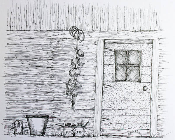 Homestead Drawing - Harvest Shed by Jack G  Brauer