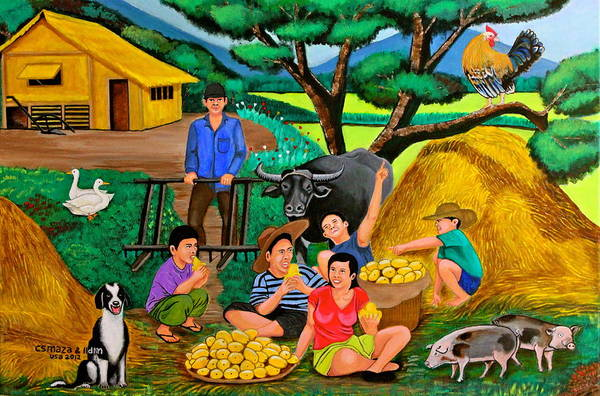 Pig Painting - Harvest Time by Cyril Maza