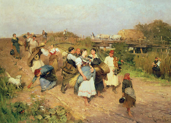 Groups Of People Painting - Harvesters On Their Way Home by Lajos Deak Ebner