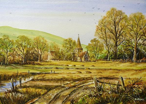 Wall Art - Painting - Harvesting Fields by Andrew Read