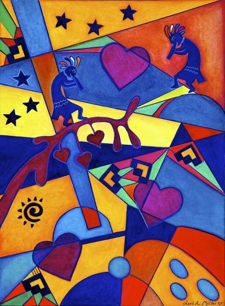 Harvesting The Love Kokopelli Art  Art Print