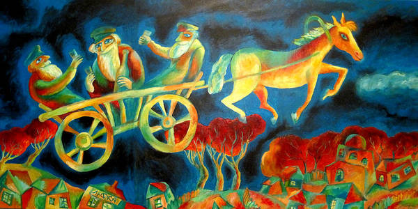 Jewish Music Wall Art - Painting - Hasidishe Journey To Rebbe  by Leon Zernitsky