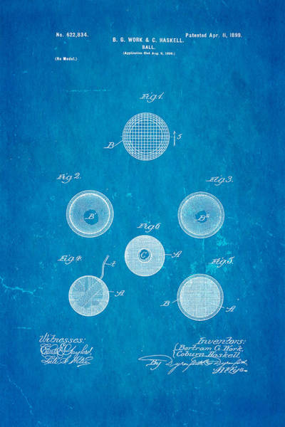 1899 Photograph - Haskell Wound Golf Ball Patent 1899 Blueprint by Ian Monk