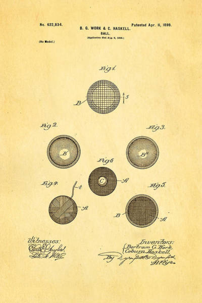 Golf Green Photograph - Haskell Wound Golf Ball Patent 1899 by Ian Monk
