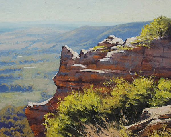 Cliff Painting - Hasson Wall Lithgow by Graham Gercken