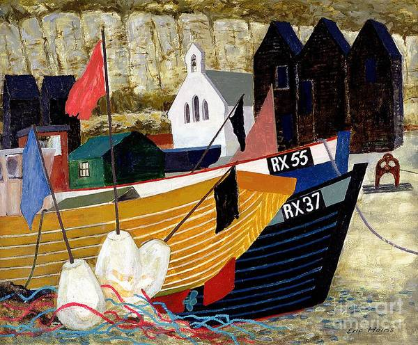 Mooring Painting - Hastings Remembered by Eric Hains