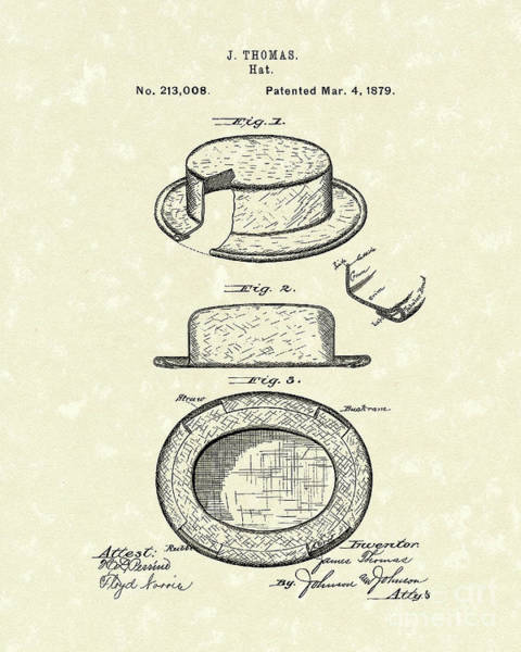 Drawing - Hat 1879 Patent Art by Prior Art Design