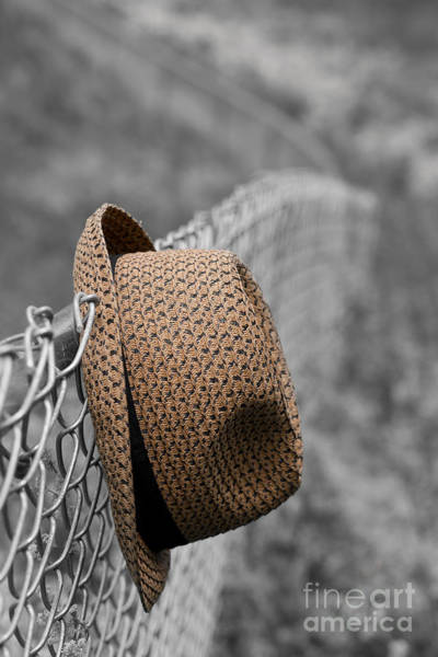 Chain Link Photograph - Hat On Chain Link Fence by Edward Fielding