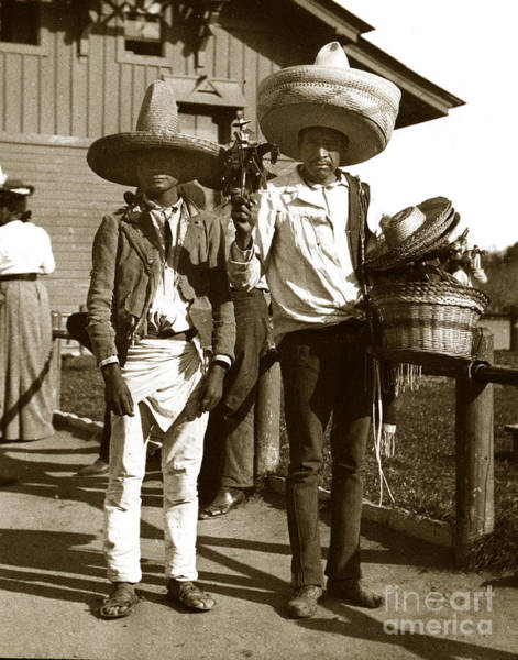 Photograph - Hat Sellers Silao Mexico Circa 1902  by California Views Archives Mr Pat Hathaway Archives