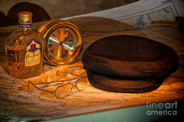 Photograph - Hat Whiskey Clock And Map by Les Palenik