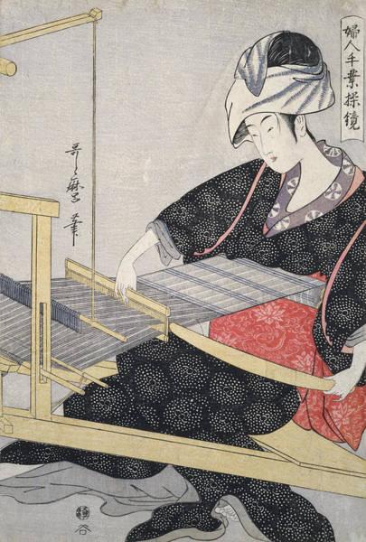 Wall Art - Painting - Hata-ori = Weaving On A Loom, Kitagawa by Artokoloro