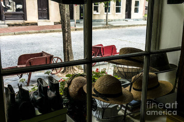 Photograph - Hats And Shoes Show In The Window Of A Civil War Period Shop At Harpers Ferry West Virginia by William Kuta