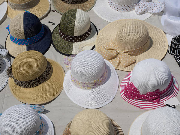 Hats For Sale Photograph - Hats For Sale Next To Marina, Lerici by Panoramic Images