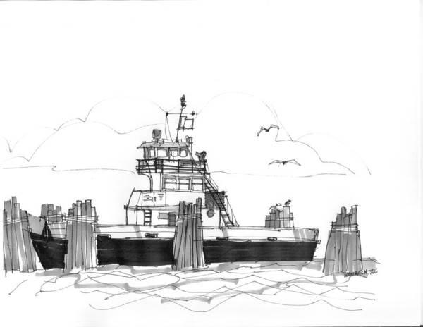 Drawing - Hatteras Ferry by Richard Wambach