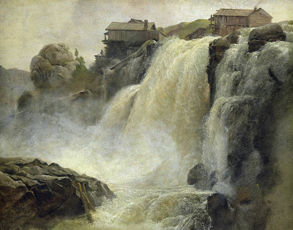 Wall Art - Painting - Haugfoss In Norway by Christian Ernst Bernhard Morgenstern