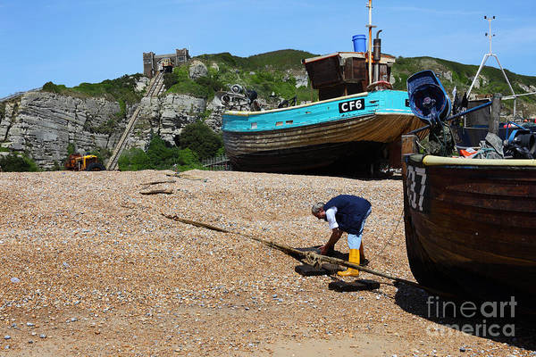 Photograph - Hauling In The Boat At Hastings by James Brunker