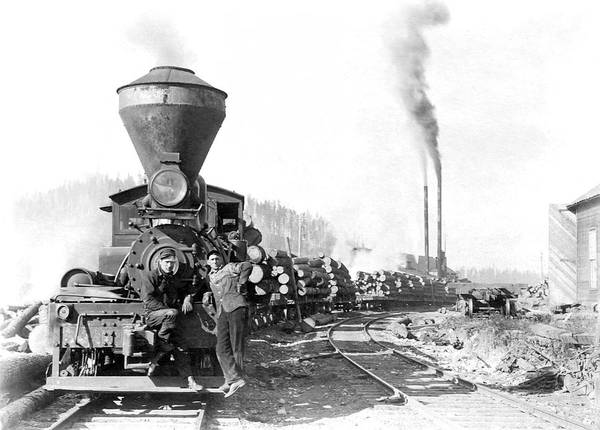 Canadian Pacific Railroad Photograph - Hauling Logs In Canada - 1900 by Daniel Hagerman