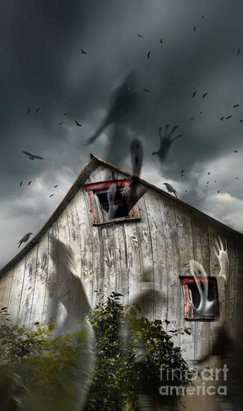 Photograph - Haunted Barn With Ghosts Flying And Dark Skies by Sandra Cunningham