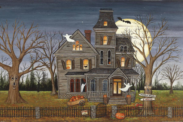 Halloween Painting - Haunted House by David Carter Brown