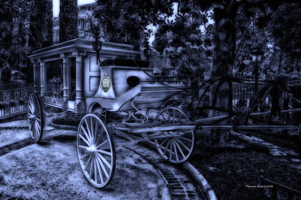 Wall Art - Photograph - Haunted Mansion Hearse At Midnight New Orleans Disneyland by Thomas Woolworth