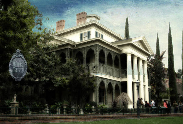 Wall Art - Photograph - Haunted Mansion New Orleans Disneyland Textured Sky by Thomas Woolworth