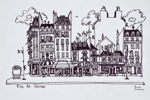 Ink Sketch Photograph - Haussmann Architecture Along Rue De by Richard Lawrence