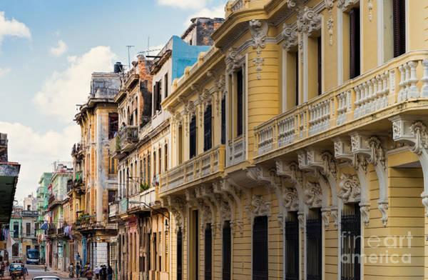 Photograph - Havana Buildings by Les Palenik