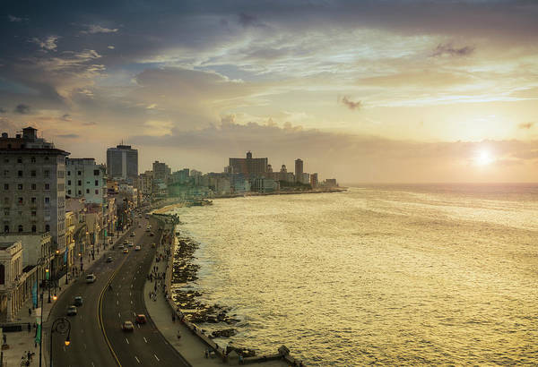 Malecon Wall Art - Photograph - Havana. View Of El Malecon At Sunset by Buena Vista Images
