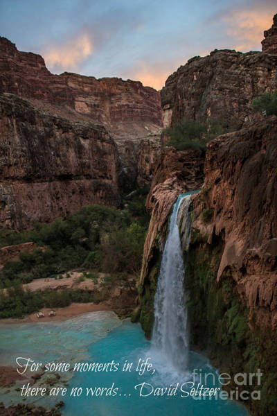 Photograph - Havasu Falls With Quote by Jim McCain