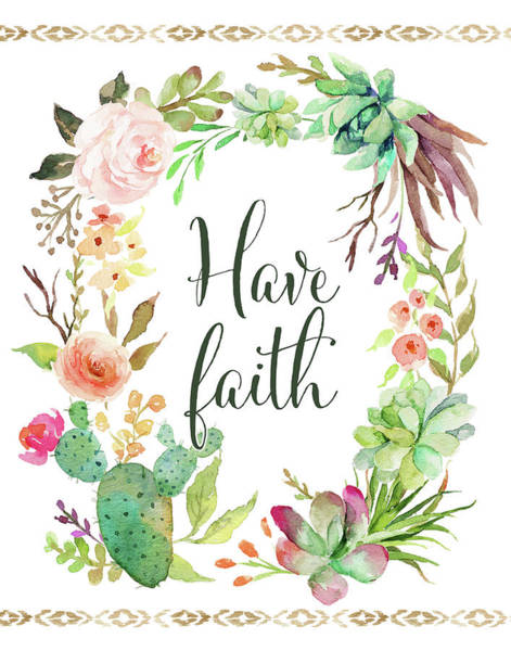 Succulent Wall Art - Painting - Have Faith Wreath by Tara Moss