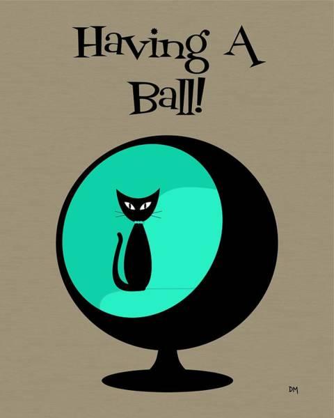 Digital Art - Having A Ball In Aqua by Donna Mibus