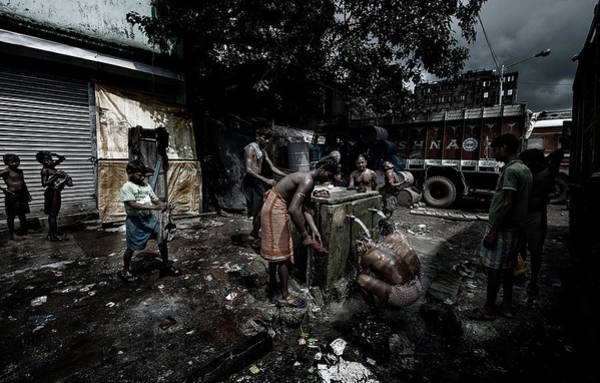 Wall Art - Photograph - Having A Shower In The Street - Colcatta - India by Joxe Inazio Kuesta