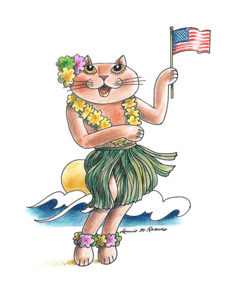 Pussycat Drawing - Hawaian Cat by Louise McClain Reeves
