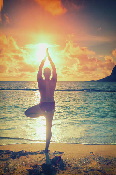 Practice Photograph - Hawaii, Man Practicing Yoga On Beach by Michele Falzone