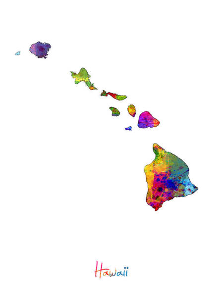 Hawaii Wall Art - Digital Art - Hawaii Map by Michael Tompsett