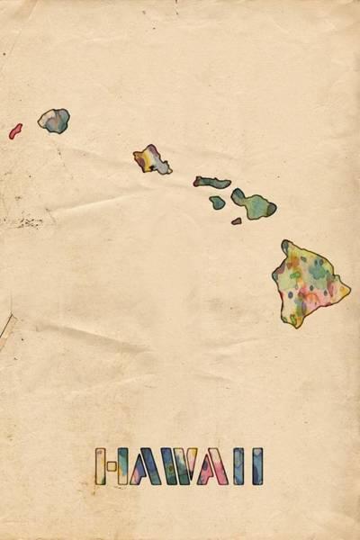 Painting - Hawaii Map Vintage Watercolor by Florian Rodarte