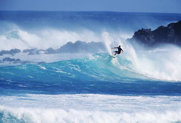 Wall Art - Photograph - Hawaii, Maui, Hookipa Beach Park, Pavillions, Surfer Carving Top Of Wave. by Ron Dahlquist